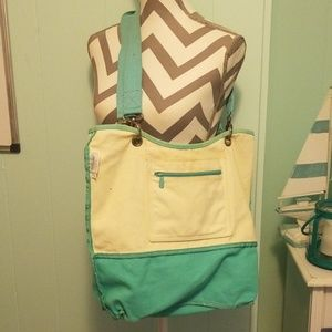 Thirty-one canvas shoulder bag off white & aqua